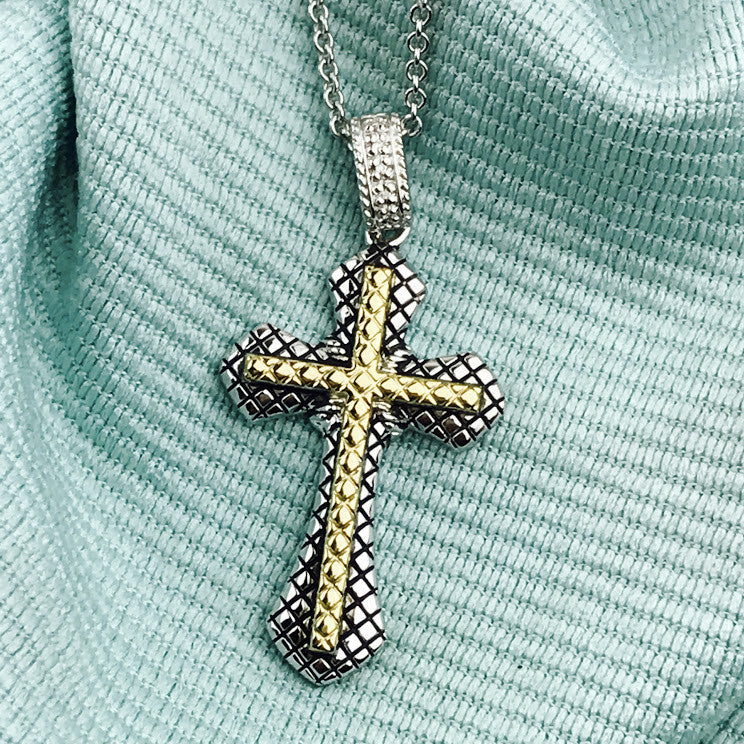 Andrea Candela 18K Gold and Sterling Silver Diamond Cross Necklace (88582)