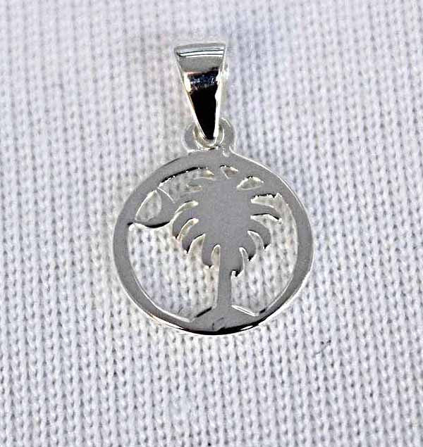 Southern Gates Small Round Palmetto Tree and Moon Pendant