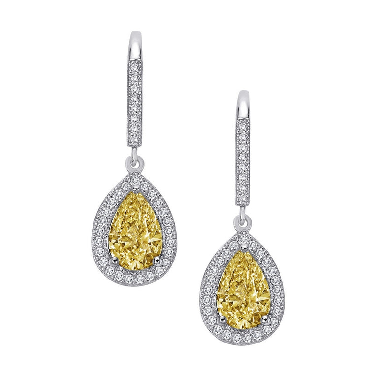 Lafonn Lassaire Clear and Canary Simulated Diamond Earrings in Sterling Silver Bonded with Platinum