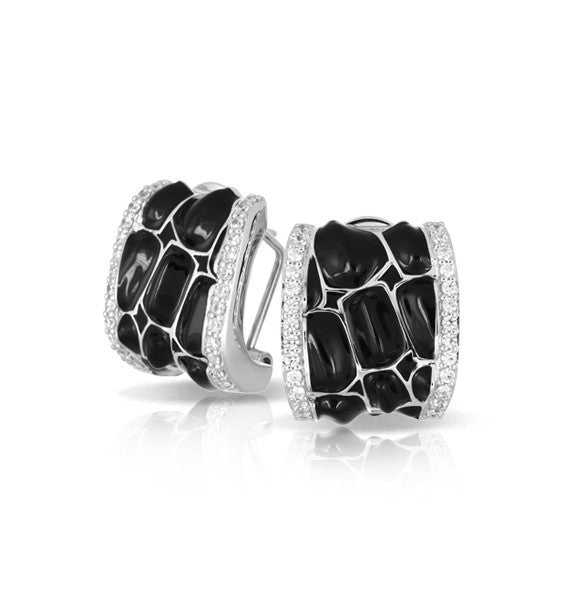 Belle e'toile Sterling Silver Coccodrillo Black Earrings (81297)