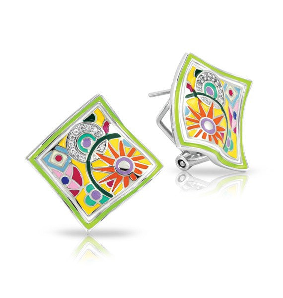 Belle e'toile Sterling Silver Pashmina Yellow Earrings (83077)
