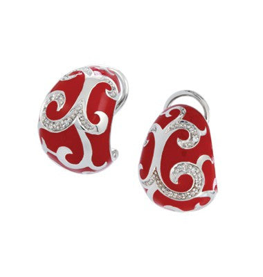 Belle e'toile Sterling Silver Royale Red Earrings (82615)