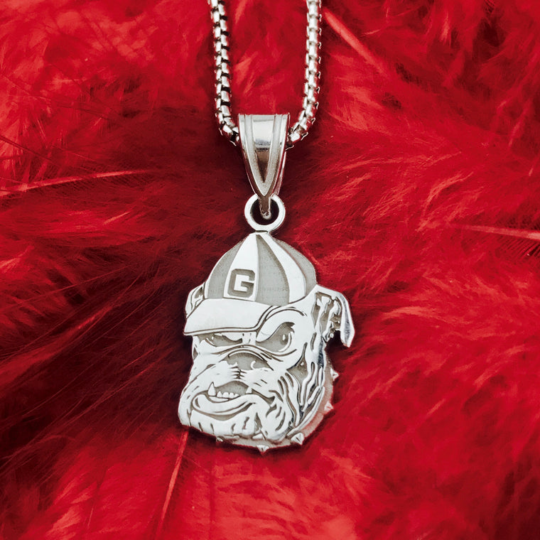 Sterling Silver LogoArt Officially Licensed University of Georgia Medium Bulldog Pendant