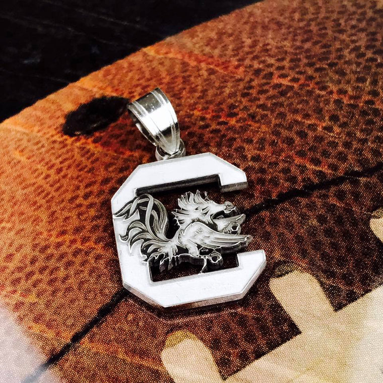 Sterling Silver LogoArt Officially Licensed University Of South Carolina Small Pendant