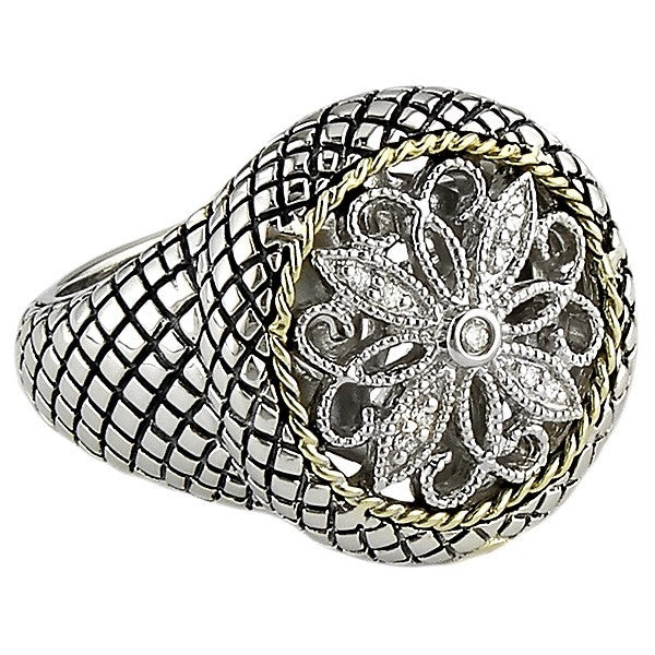 Andrea Candela 18k Gold and Sterling Silver Diamond Ring, Size 7 (78260)