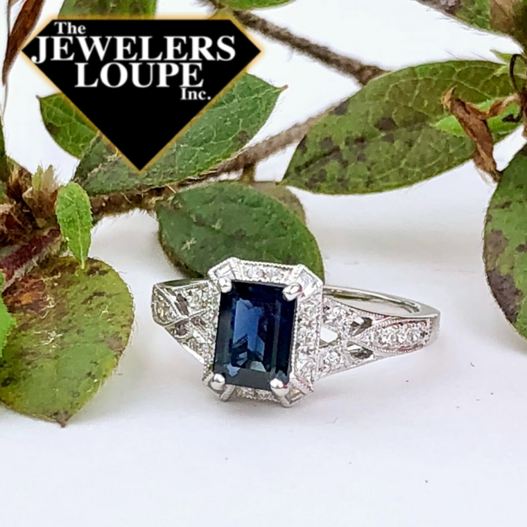 14K White Gold .50ctw Diamond and 1.10ctw Sapphire Ring (81640)