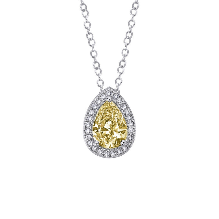 Lafonn Lassaire Simulated Clear and Canary Diamond Necklace in Sterling Silver Bonded with Platinum