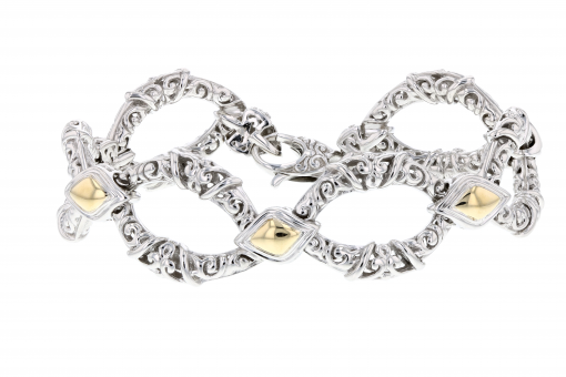 PiyaRo Sterling Silver and 14K Yellow Gold Link Bracelet (93588)