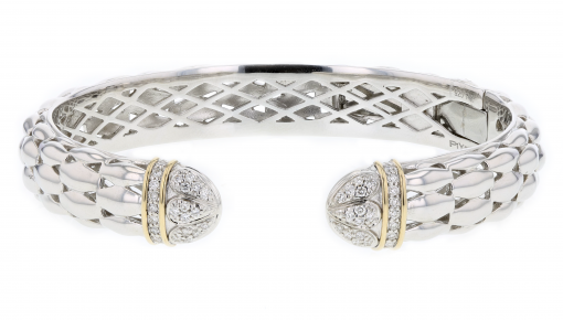 PiyaRo Diamond, Sterling Silver and 14K Yellow Gold Hinged Cuff Bracelet (94825)