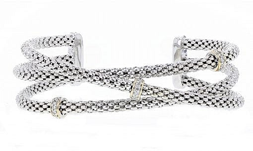 PiyaRo Diamond, Sterling Silver and 14K Yellow Gold Criss Cross Bracelet (94827)