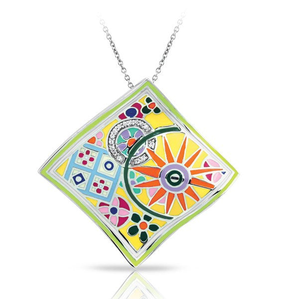 Belle e'toile Sterling Silver Pashmina Yellow Pendant (83079)