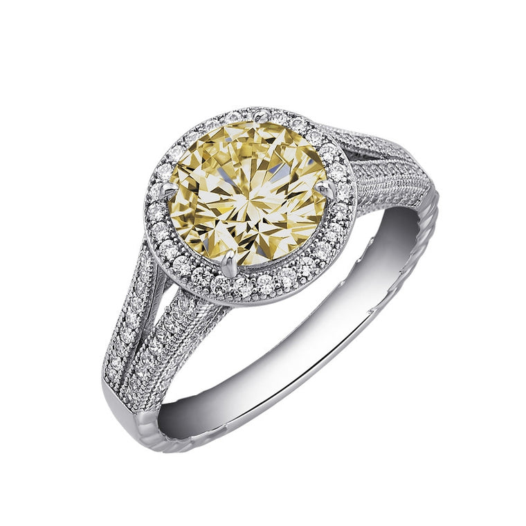 Lafonn Clear and Canary Simulated Diamond Ring, Size 7 (77164)