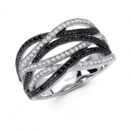 Lafonn Clear and Black Labyrinth Simulated Diamond Ring in Sterling Silver, Size 7