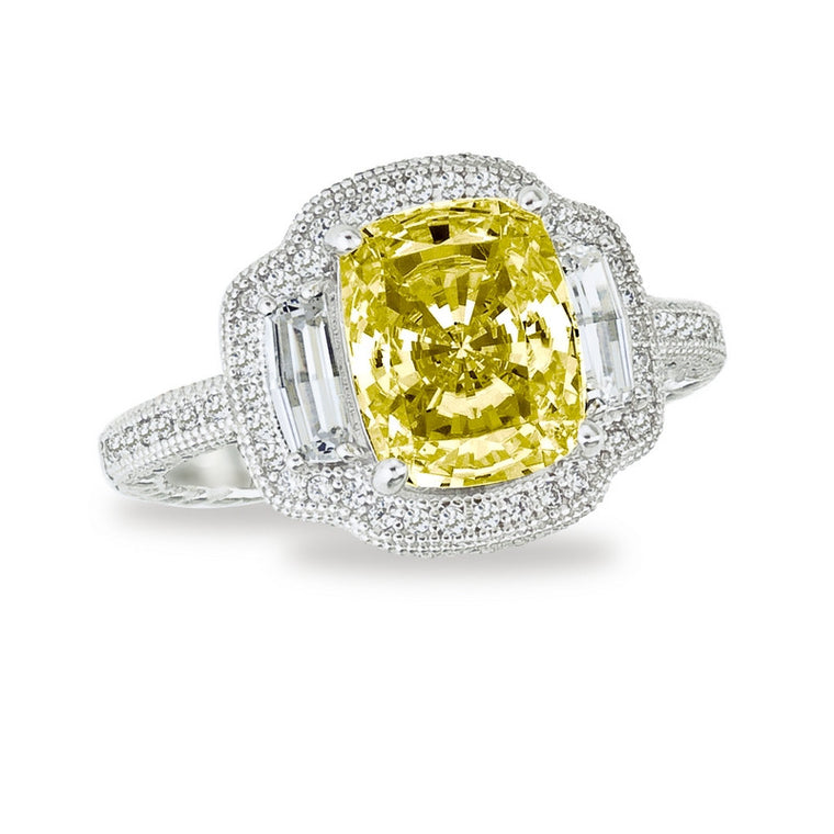 Lafonn Clear and Canary Simulated Diamond Ring in Sterling Silver Bonded with Platinum, Size 7