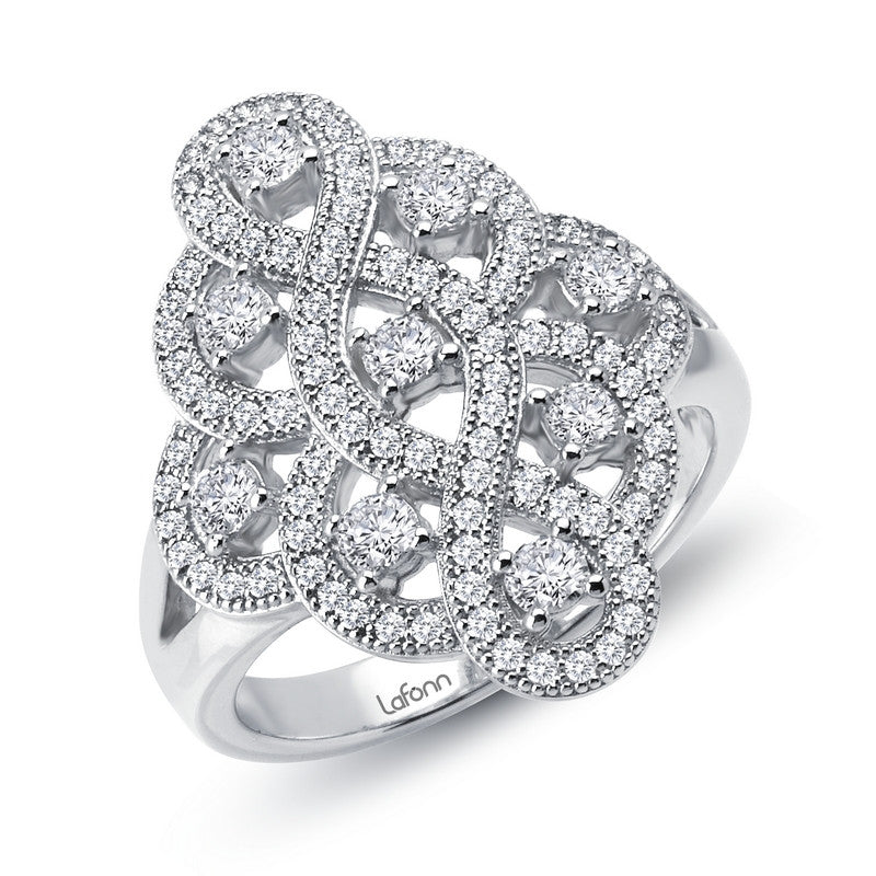 8d2f5fd43087d Lafonn Filigree Simulated Diamond Ring in Sterling Silver Bonded with  Platinum, Size 7 (77716)