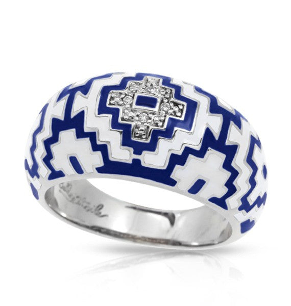 Belle e'toile Sterling Silver Aztec Blue Ring, Size 8 (91583)