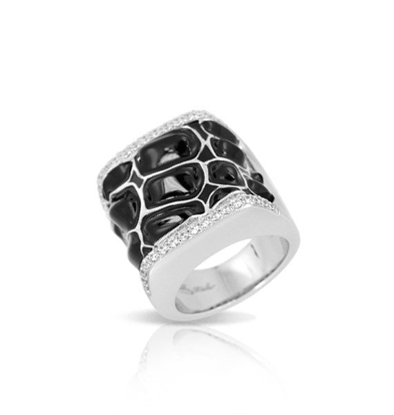 Belle e'toile Sterling Silver Coccodillo Black Ring, Size 7 (81295)