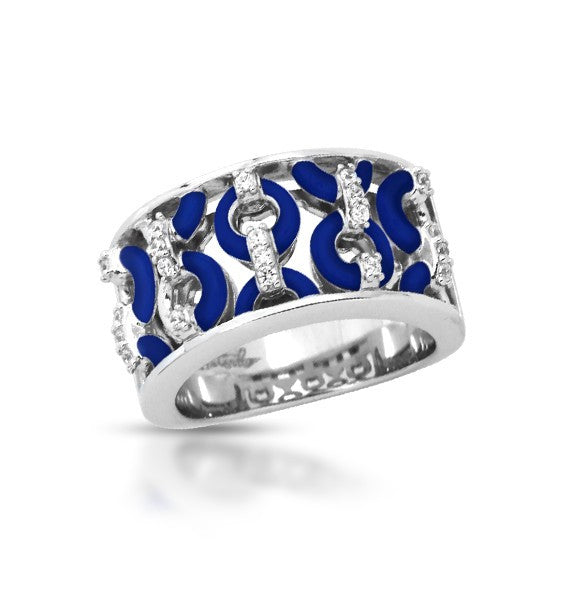 Belle e'toile Sterling Silver Meridian Blue Ring, Size 6 (82613)