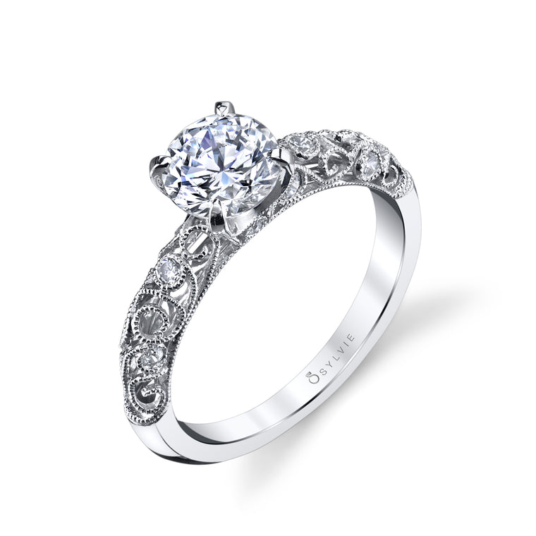 14K White Gold Sylvie .13ctw Diamond Engagement Semi-Mount (90602)