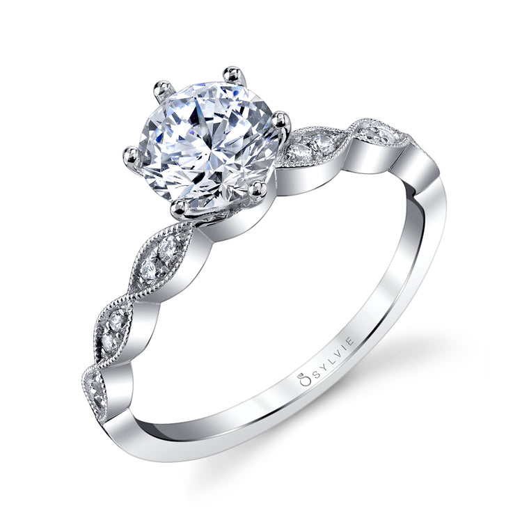 14K White Gold Sylvie .09ctw Diamond Engagement Semi-Mount (90603)