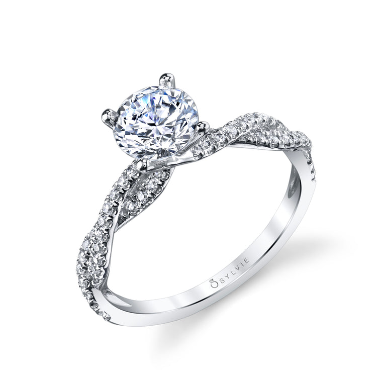 14K White Gold Sylvie .28ctw Diamond Engagement Semi-Mount (90604)