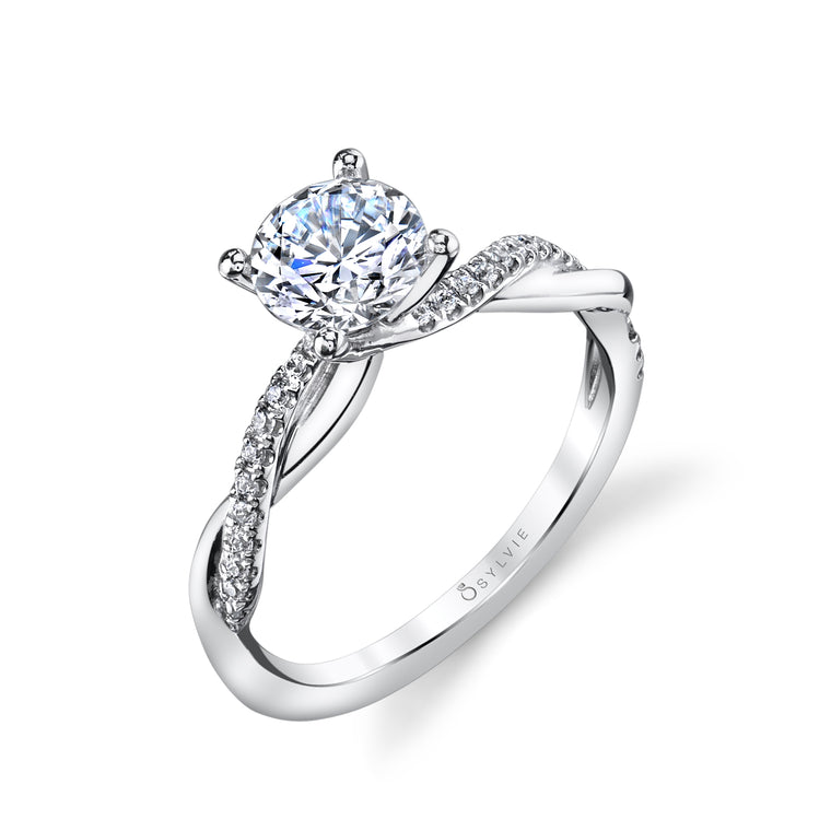 14K White Gold Sylvie .14ctw Diamond Engagement Semi-Mount (90605)
