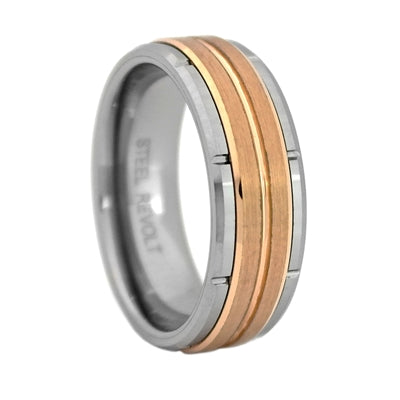 Comfort Fit 8mm Tungsten Carbide Band with a Rose Gold Color PVD Plated Center, Size 12 (94229)