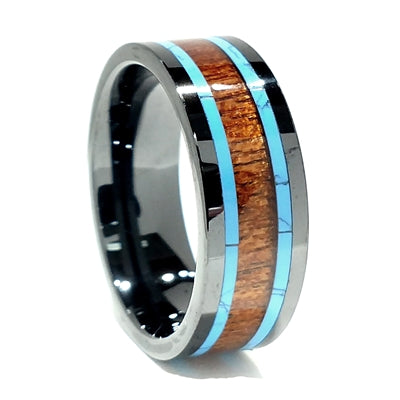 Comfort Fit 8mm High-Tech Ceramic Band With Koa Wood and Turquoise Inlay, Size 11 (93084)