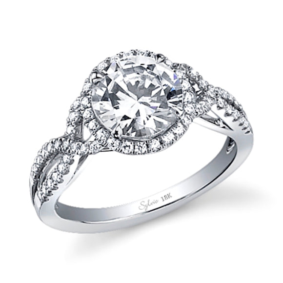 14K White Gold Sylvie .35ctw Diamond Engagement Semi-Mount (82781)