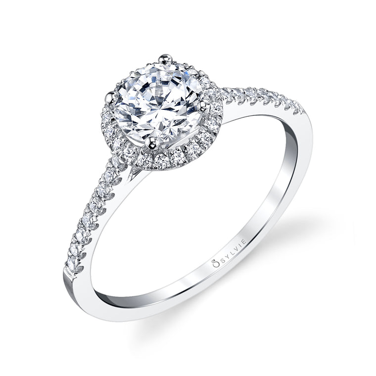14K White Gold Sylvie .22ctw Diamond Engagement Semi-Mount (71392)