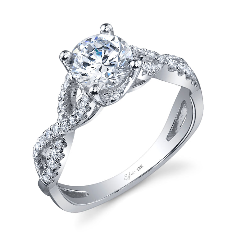 14K White Gold Sylvie .26ctw Diamond Engagement Semi-Mount (90618)