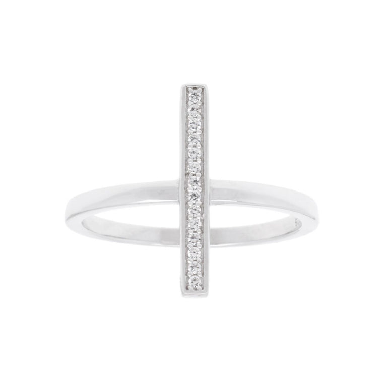 Sterling Silver Single Vertical CZ Bar Ring, Size 9 (92454)