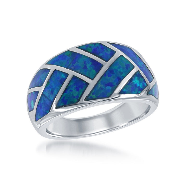 Sterling Silver Blue Inlay Opal Ring, Size 8 (93210)