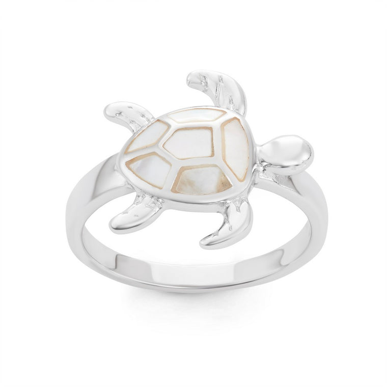 Sterling Silver White Mother of Pearl Turtle Ring, Size 6 (92077)