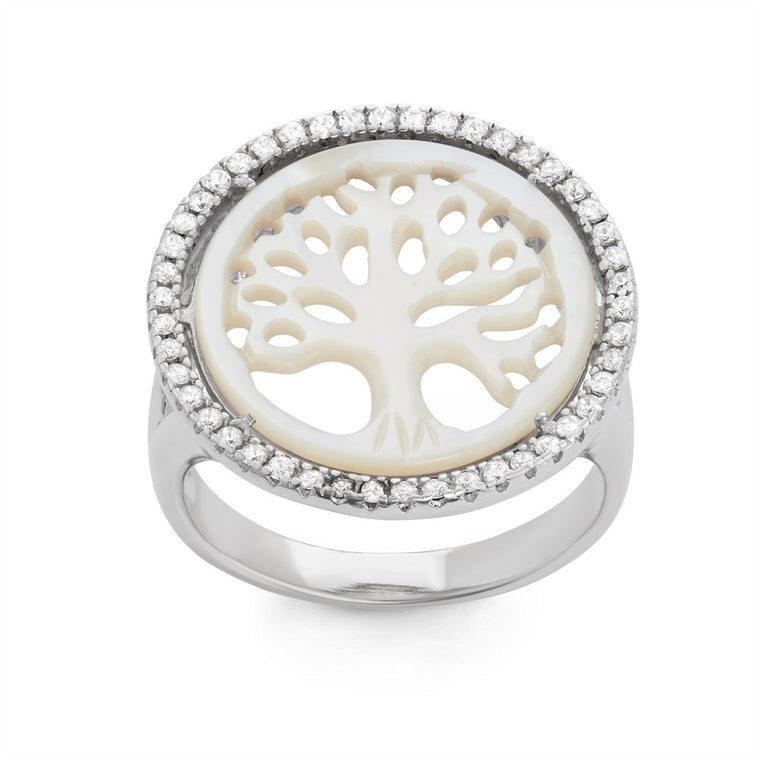 Sterling Silver Round Cut Out MOP Tree of Life With CZ Border Ring, Size 9 (92459)