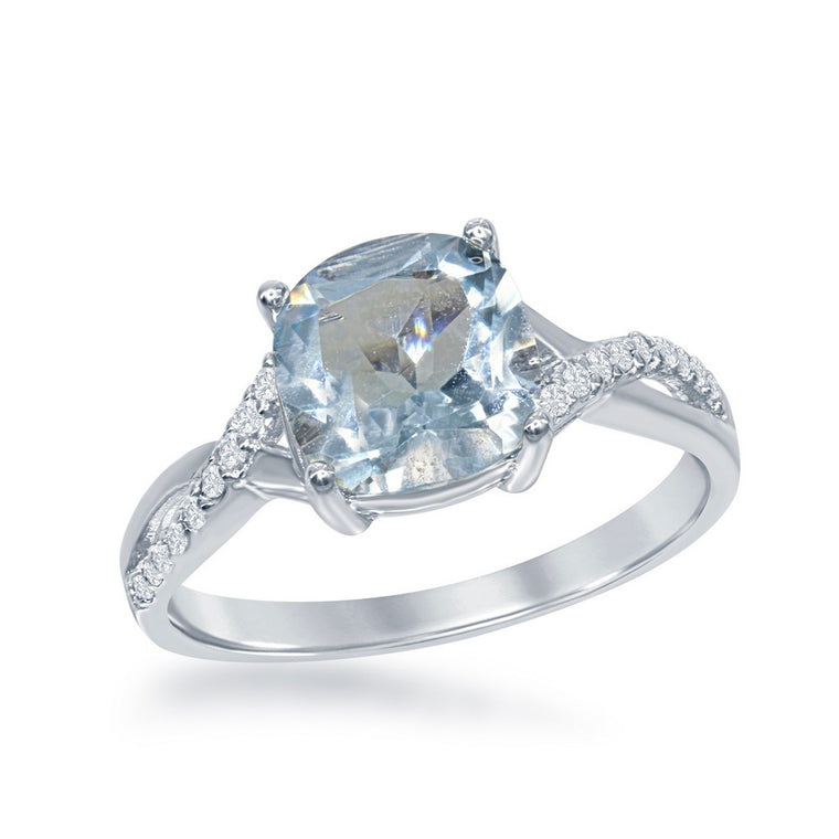 Sterling Silver Small Square Blue Topaz with White Topaz Ring, Size 8 (93109)