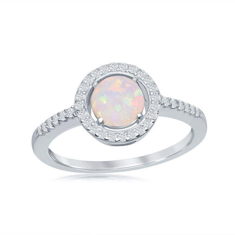 Sterling Silver Round White Opal with CZ Halo Ring, Size 7 (93111)