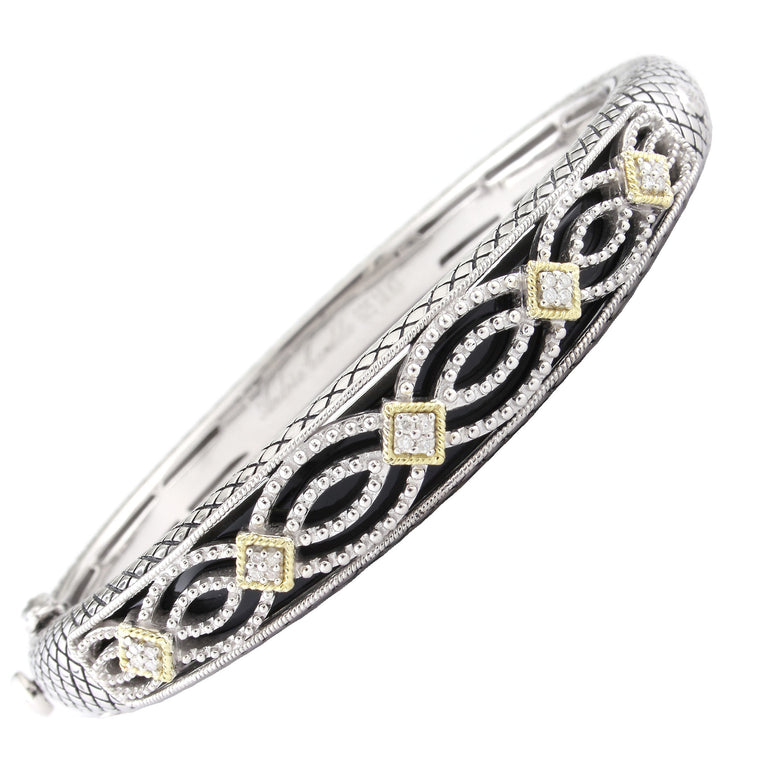 Andrea Candela 18K Gold and Sterling Silver Black Onyx and Diamond Bangle (80634)