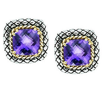 Andrea Candela 18K Gold and Sterling Silver Amethyst Earrings (82457)