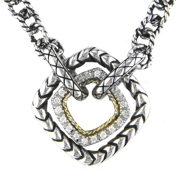 Andrea Candela Sterling Silver and 18K Gold Diamond Necklace (81681)