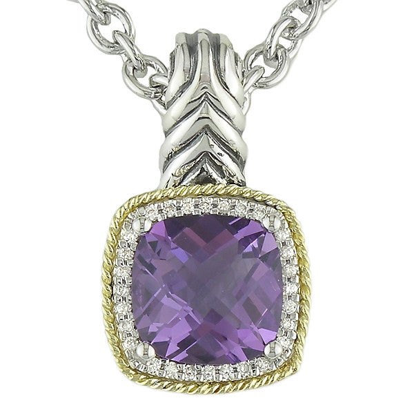 Andrea Candela 18K Yellow Gold and Sterling Silver Diamond Amethyst Necklace (82456)