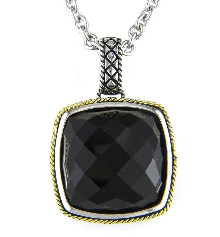 Andrea Candela 18K Yellow Gold and Sterling Silver Black Onyx Necklace (81630)