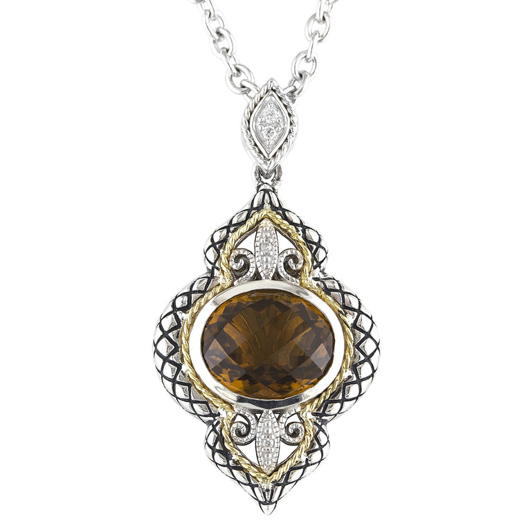 Andrea Candela 18K Yellow Gold and Sterling Silver Diamond and Cognac Quartz Necklace (83304)