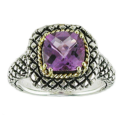 Andrea Candela 18K Gold and Sterling Silver 8mm Cushion Amethyst Ring, Size 7 (83311)