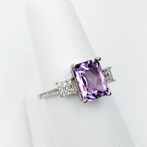 Bellissima Sterling Silver Amethyst and White Topaz Ring, Size 6 (83589)