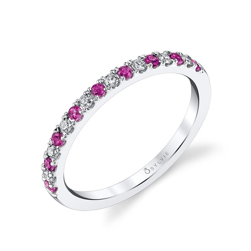 14K White Gold Sylvie .28ctw Ruby and Diamond Band (90452)