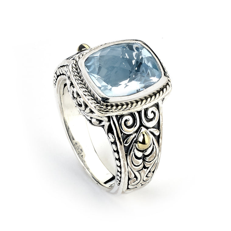 Samuel B. Sterling Silver and 18K Gold Balinese Design Blue Topaz Ring (91161)