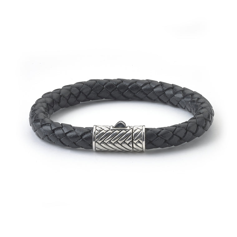 Samuel B. Leather Men's Bracelet with Sterling Silver Textured Clasp (91157)