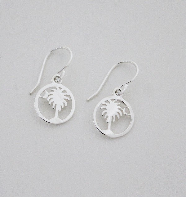 Southern Gates Small Round Palmetto Tree and Moon Earrings