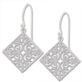 Southern Gates Sterling Silver Diamond Scroll Earrings, Small (81064)